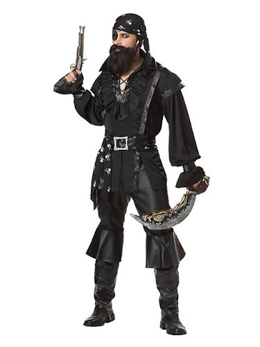 Patch The Pirate Club - California Costumes Men's Plundering Pirate Adult, Black, X-Large