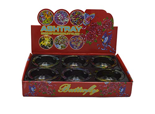 - Rockin Ashtray Butterfly Design Round Glass - 6 Piece Assorted Set - Party Deluxe Set Gift Box Store Display
