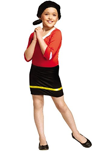 [8eighteen Popeye Olive Oyl Child Halloween Costume] (Popeye Plus Size Adult Mens Costumes)