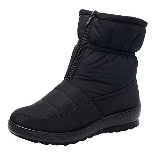 Fire And Safety Shoes, Women Winter Mid Calf Snow Boot Fur Warm Waterproof Anti Slip Outdoor Bootie For Rain Cold Weather, Ankle Fancy Across Black After Hours Ski Lace B Black 7.5