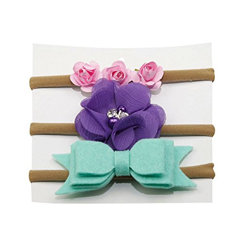 SUPPION 3Pcs Kids Elastic Floral Headband Hair Girls Baby Nylon Bowknot Hairband Set (A) from Suppion