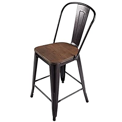 COSTWAY Copper Tolix Style Metal Dining Chairs Wood Seat Stackable Industrial Counter Stool Cafe Side Chairs