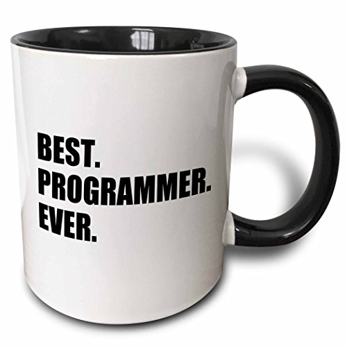 3dRose 185015_4 Best Programmer Ever Fun Gift For Talented Computer Programming Text Two Tone Mug, 11 oz, Black ()