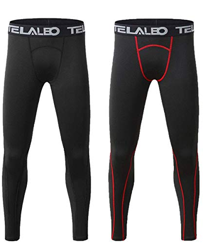 TELALEO Boys' Youth Compression Base Layer Pants Tight Running Leggings Trousers 2pcs S