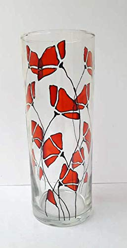 Vase Candle Stained Glass - Red Poppy Flower Hand Painted Stained Glass Cylinder Vase Candle Holder Home Decor