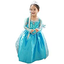 LOEL Girls New Princess Party Costume Long Dress Up for 4-5 Years