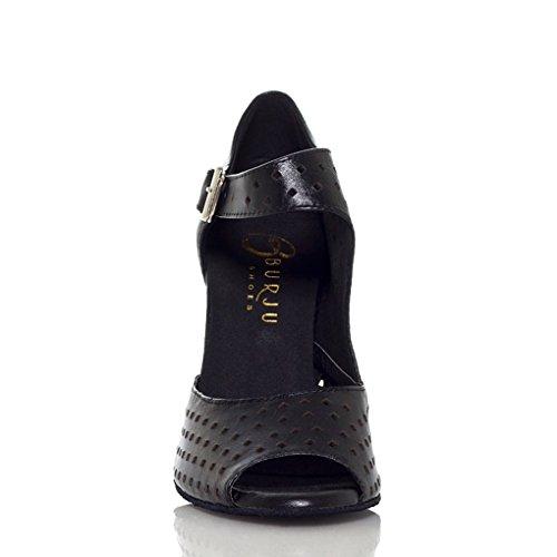 Buckle Miyoopark Women's Dance Shoes Leather Black M Modern Mesh US Ballroom 7 Latin qx1xR5