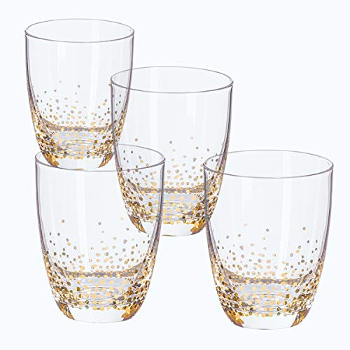 - Trinkware Luster Gold Set of 4 Double Old Fashioned Rocks Glasses For Water Scotch Whiskey Juice