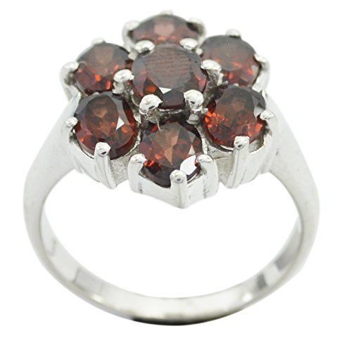 CaratYogi Fine Garnet 925 Sterling Silver Ring Oval Shape Cluster Style Partywear for Her Size 5.5