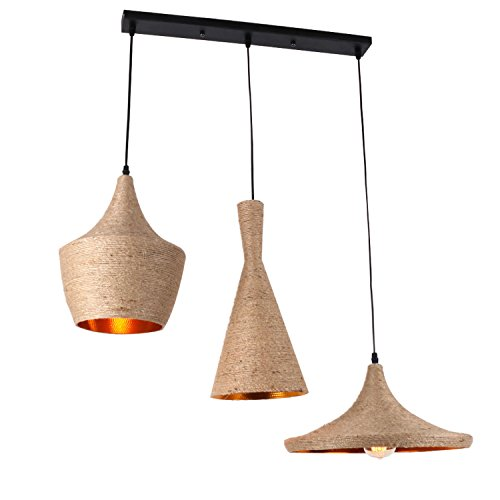 UNITARY BRAND Cream Rustic Braided Hemp Rope Metal Hanging Ceiling Chandelier Max. 120W With 3 Lights Painted Finish