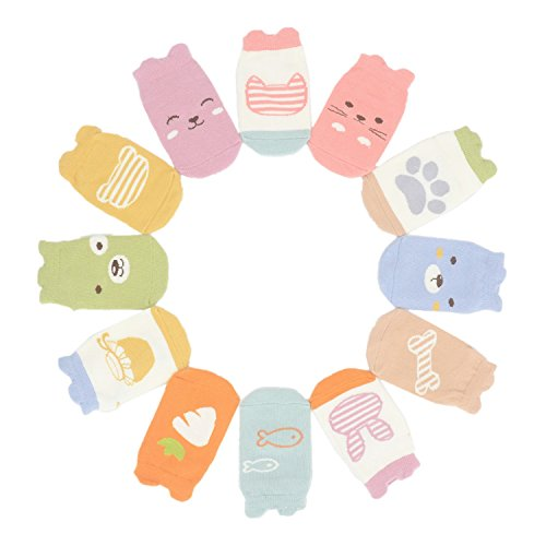 Toddler Non Skid Low Cut Ankle Socks, Newborn/Infant/Baby/Little Girls 12 Pack (2-4 Years, rabbit&carrot, dog&bone, cat&fish, ()