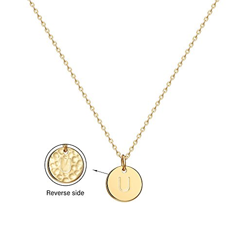 (Befettly Initial Necklace,14K Gold-Plated Children Necklace Round Disc Double Side Engraved Hammered Name Necklace 16.5'' Adjustable Personalized Alphabet Letter Women Pendant U)