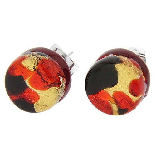 (GlassOfVenice Murano Glass Venetian Reflections Round Stud Earrings - Black Red)