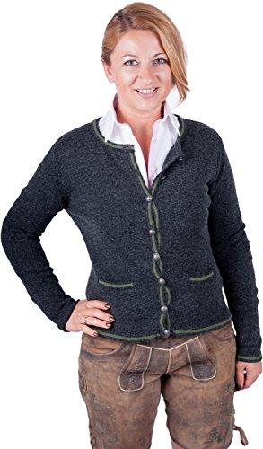 Almwerk Damen Trachten Strick Jacke Diana in grün, blau, grau schwarz und fuchsia, Größe Damen:XL - Größe 42;Farbe:Anthrazit/Grün