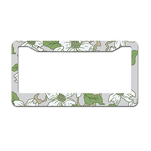 - DKISEE Abstract White Dogwood License Plate Frame Aluminum Car License Plate Covers with 2 Holes 12