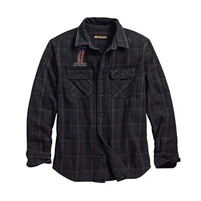 HARLEY-DAVIDSON Men's Over-Dyed Plaid Slim Fit Shirt, Plaid/Black
