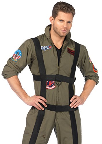 Men's Top Gun Paratrooper Costume, Olive Green - S to XL