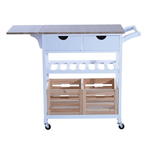 Kitchen Trolley Cart Drop-leaf Table Folding Dining Modern Design Rolling Wheels Kitchen Island Storage Utility Cart Portable Trolley Stand With Storage Wooden Basket 2 Drawers Wine Rack (Clearance Drop With Island Kitchen Leaf)
