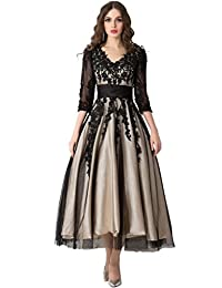 Snowskite Women's Black Lace Applique Tulle Long Formal Evening Dress