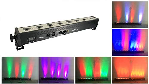 LED Par bar wall wash stage light,TOM 8pcsX3W RGB 3-IN-1 LED and full aluminum house of 7 modes DMX512 for Disco/party/theater (RGB)