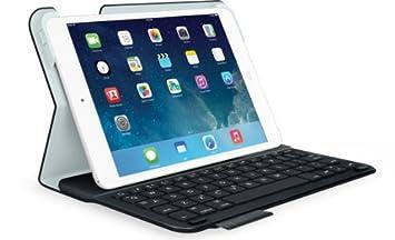 Logitech Estuche Ultrathin Folio con teclado integrado en español para iPad mini 1/2/3, Negro