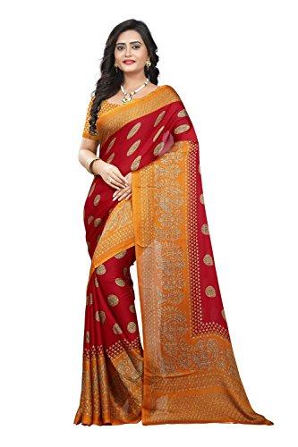 Jaanvi fashion Women's Peackock Printed Crepe Silk Kalamkari Printed Saree (designer-saree-2018-red) (Crepe Silk Saree)