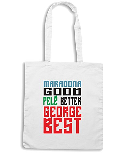 T-Shirtshock - Bolsa para la compra WC0495 Maradona good Pele better George BEST Blanco