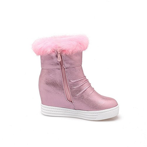 AllhqFashion Womens Soft Material Round Closed Toe Solid Low-top High-Heels Boots Pink 1CoiNjoy1