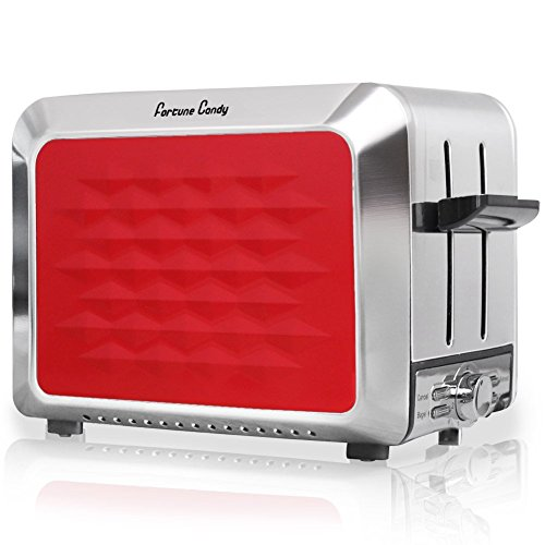 Stainless Steel 2 Slices Red Toaster with Adjustable 7 Shade Settings, Wide Extra Slot, JOYBASE KST011 (Red)
