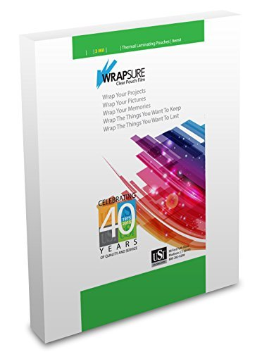 USI WrapSure Thermal Laminating Pouches, Menu Size, 3 Mil, 12 x 18 Inches, Clear, Gloss Finish, 100-Pack by Wrapsure