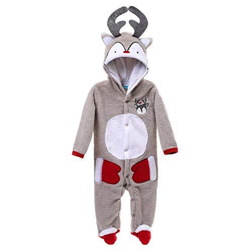 Newborn Baby Girl Boy Christmas Deer Pajamas Warm Hooded Long Sleeve Romper Button Jumpsuit Sleepwear Outfits (Gray, 3-6 Months) -
