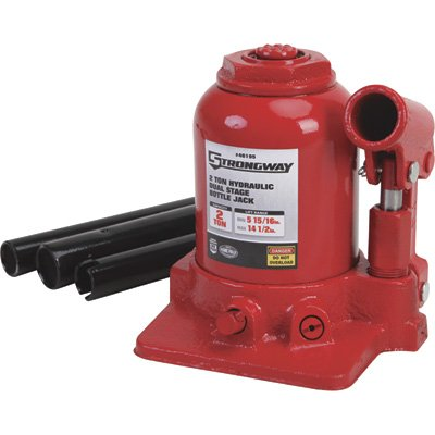 2 Ton High Lift (Strongway Hydraulic High Lift Double Ram Bottle Jack - 2-Ton Capacity, 5 15/16in.-14 1/2in. Lift Range)