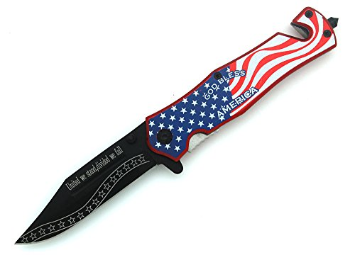 Snake-Eye-Tactical-Rescue-Folder-Action-Assisted-Knife-USA-Flag-Razor-Sharp-Survival