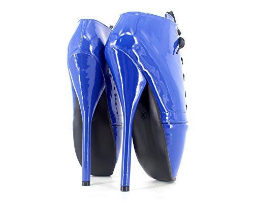 """Wonderheel 7"""" stiletto sexy fétiche lacets bottes cheville cuir verni bleu ballet chaussures femme"""