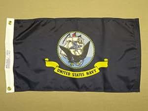 "Estados Unidos azul marino interior al aire libre Barco pared bandera de Nylon teñido arandelas 12""X 18"""