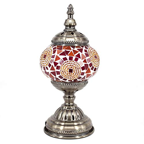 (Kindgoo Turkish Moroccan Lamp Mosaic Table Lamp Handmade Multicolored for Living Room Decor Led Bulb Included (Red))