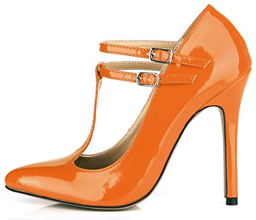 High T Colours Heels DolphinGirl 12CM Orange Women Patent Strap Pointy Court Shoes Shoes SM00114 Fashion Multiple Mary Toe Jane Leather Stiletto qBFFwPx