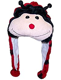 Plush Faux Fur Animal Critter Hat Cap - Soft Warm Winter Headwear - Short with Ear Poms and Flaps & Long with Scarf and Mittens available (Ladybug - Short)