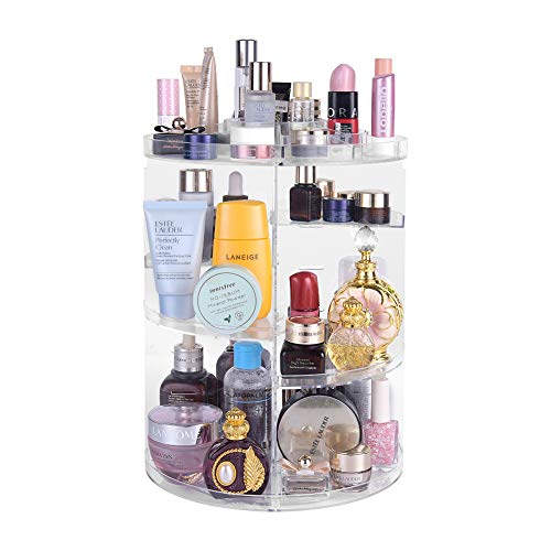 Lermende 360 Rotating Makeup Organizer, DIY Adjustable Jewelry Cosmetic Perfumes Holder Storage Rack Display Stand Box, Large Capacity Round Bathroom Storage Tower, Best for Countertop (Clear)