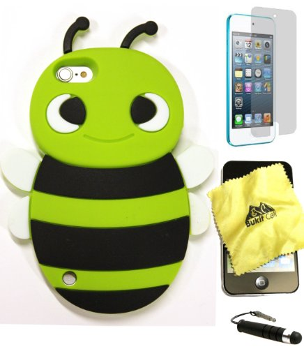 (Bukit Cell GREEN 3D Bee Soft Silicone Skin Case Cover for iPod Touch 5th/6th [bundle - 4 items: case,Bukit Cell cloth, stylus pen and screen protector])