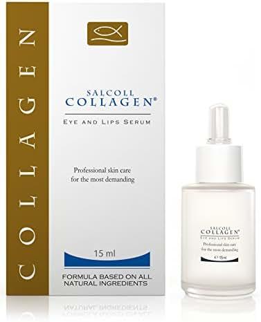 SALCOLL COLLAGEN Eye & Lips Serum - Anti-Wrinkle and Anti-aging Hypoallergenic Lips & Eye Serum for Women and Men with Marine Collagen to reduce Wrinkles, Eye Bags & Dark Circles - 15 ml