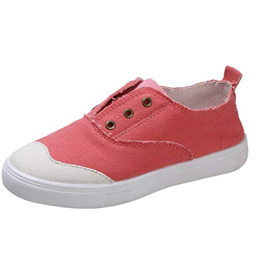 Forthery Ruffled Washed Denim Canvas Shoes Large Size Low To Help A Couple A Pedal Flat Shoes(Red,7)