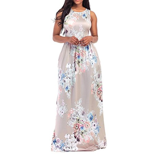 FORUU Sexy Women Floral Print O Neck Sleeveless Long Maxi Casual Beach Dresses Zebra Print Sleeveless Dress