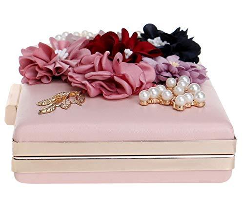 chaîne Bal 8x5x2inch Vintage Embrayage de Jours soirée Floral Noir fériés pour de Parti Rose d'autres soirée Femme 20x12x4cm Et Sac Sac YnwASq