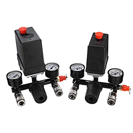 A RanDal Air Compressor Pressure Switch Control Valve Manifold Regulator Gauges With Quick Connector
