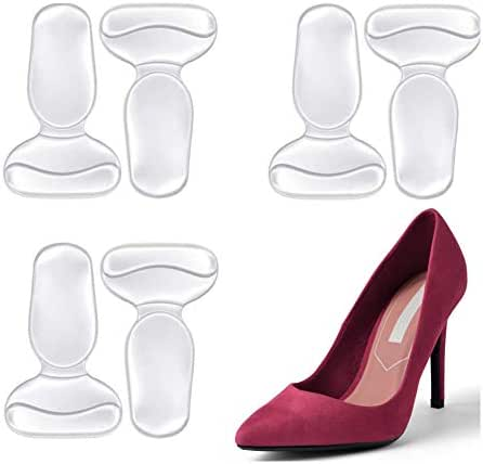 Heel Grips, FOCONEE High Heel Cushion Silicone Shoe Pads for Too Big Shoes Anti-Slip Heel Grips Inserts Liners Foot Insoles for Women, Back of Heel Protector - 3 Pairs