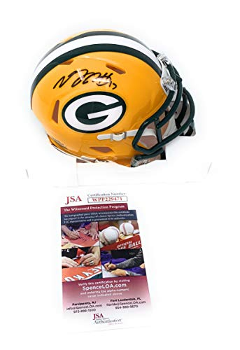 (Davante Adams Green Bay Packers Signed Autograph Speed Mini Helmet JSA Witnessed Certified)