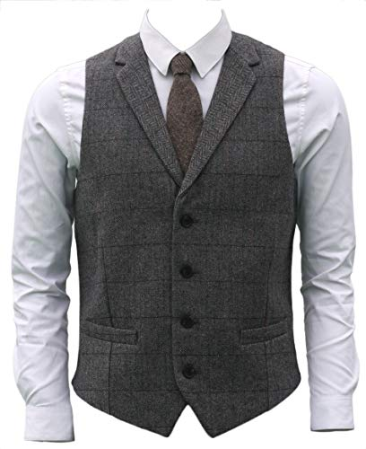 Ruth&Boaz 2Pockets 4Buttons Wool Herringbone Plaid Tailored Collar Suit Vest (XXXXL, Grey)