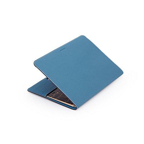 ZENDO MacBook 12'' Leather Cover (Full-Grain Shrunken Calf Leather) | PRIMO Luxury Full-Grain Leather [SIZE: MacBook 12'' | AQUABLUE] by Zendo (Image #9)