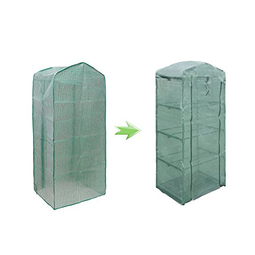 NKTM 4-Tier Mini Greenhouse Replacement Cover,Outdoor Compact Walk-in Greenhouse 27'' Long x 18'' Wide x 63'' High(FRAM NOT INCLUDE) by NKTM (Image #3)